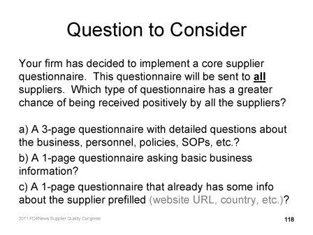 Supplier qualification question